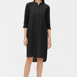 NWT Black 100% Linen Mandarin Collar Shirt Dress